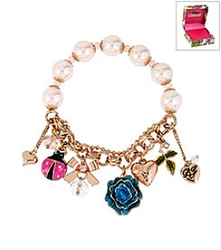 Betsey Johnson® Boxed Rose & Ladybug Multicolor Charm Stretch Bracelet