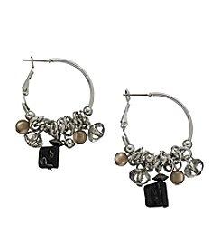 Ruby Rd.® Black Multi Beaded Fringe Click Hoop Earrings