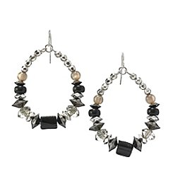 Ruby Rd.® Black Multi Beaded Gypsy Hoop Earrings