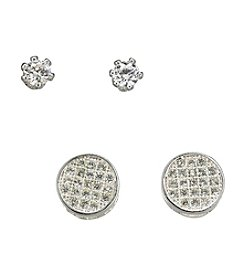 BT-Jeweled Silvertone Stud Duo Earrings