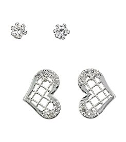 BT-Jeweled Silvertone Heart and Stud Duo Earrings