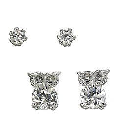 BT-Jeweled Silvertone Owl and Stud Duo Earrings