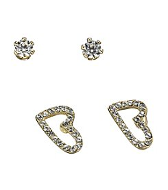 BT-Jeweled Goldtone Heart and Stud Duo Earrings
