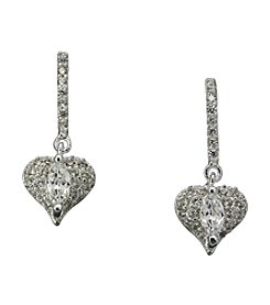 BT-Jeweled Silvertone Cubic Zirconia Linear Heart Earrings