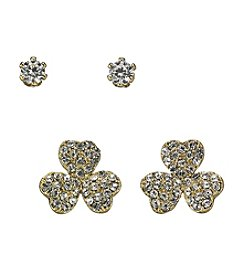 BT-Jeweled Cubic Zirconia/Goldtone Clover & Stud Duo Earrings