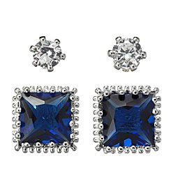 BT-Jeweled Blue Cubic Zirconia Duo Earrings Set