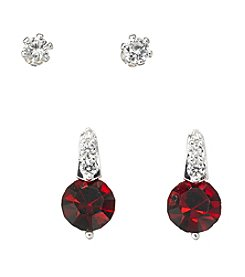 BT-Jeweled Red Cubic Zirconia Duo Earrings Set