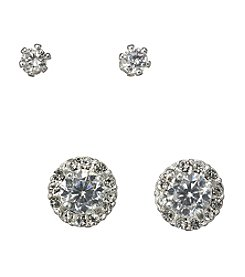 BT-Jeweled Cubic Zirconia Round Crystal Duo Earrings Set