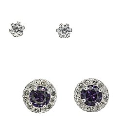 BT-Jeweled Purple Cubic Zirconia Duo Earrings Set
