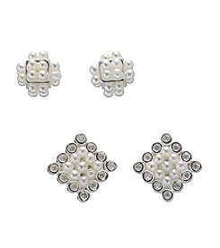 BT-Jeweled Cubic Zirconia Mini Pearl Duo Earrings Set