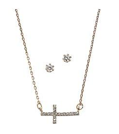 BT-Jeweled Cubic Zirconia/Rose Goldtone Sideways Cross and Stud Earrings Set