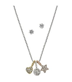 BT-Jeweled Tri-Tone/Cubic Zirconia Necklace and Earrings Set