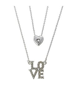 BT-Jeweled Cubic Zirconia Double Layered Silvertone Love Necklace