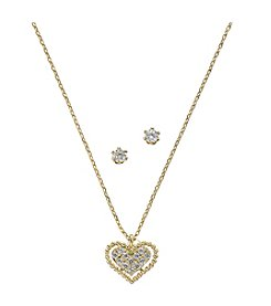 BT-Jeweled Cubic Zirconia/Goldtone Heart Necklace and Stud Earrings Set