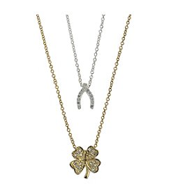 BT-Jeweled Cubic Zirconia Wishbone & Clover Duo Two-Tone Necklace