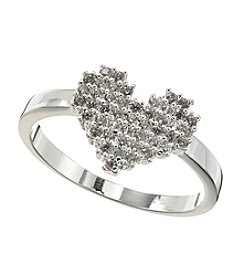 BT-Jeweled Cubic Zirconia Heart Silvertone Ring
