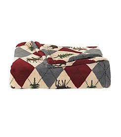 LivingQuarters Moose Argyle Micro Cozy Throw