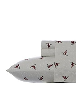 Eddie Bauer® Red Skiers Flannel Sheet Set