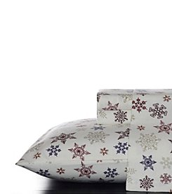 Eddie Bauer® Tossed Snowflake Flannel Sheet Set