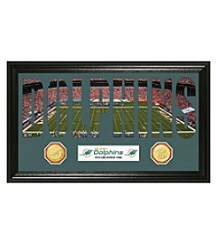 """Miami Dolphins """"Word Art"""" Bronze Coin Panoramic Photo Mint by Highland Mint"""