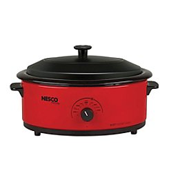 Nesco® 6-qt. Red Roaster Oven with Metal Lid & Porcelain Cookwell