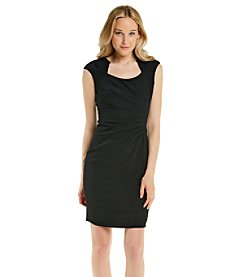 Calvin Klein Horseshoe Neckline Luxe Stretch Sheath Dress