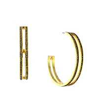 Vince Camuto™ Goldtone Pave Double Hoop Earrings