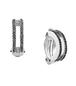Vince Camuto™ Silvertone Half-Hoop Clip Earrings