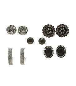 Studio Works® Set of Five Black and Silvertone Earrings