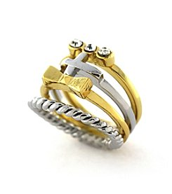 BCBGeneration™ Goldtone/Silvertone Bow, Twist, Crystal and Cross Midi Stack Ring