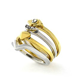 BCBGeneration™ Two-Tone Moon, Heart, Chevron, Crystal Stack Ring