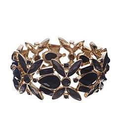 Anne Klein® Goldtone Jet Stretch Bracelet