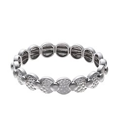 Nine West Vintage America Collection® Worn Silvertone Hammered Disc Stretch Bracelet