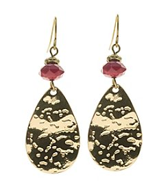 Ruby Rd.® Hook Earrings with Metal Teardrop