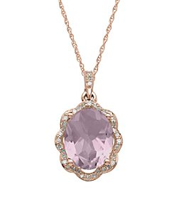 Pink Amethyst and 0.16 ct. t.w. Diamond Pendant in 10K Rose Gold