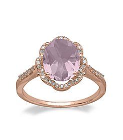 Pink Amethyst and .16 ct. t.w. Diamond Ring in 10K Rose Gold