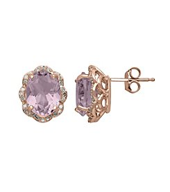 Pink Amethyst and 0.19 ct. t.w. Diamond Earrings in 10K Rose Gold