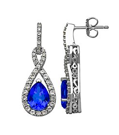Lab-Created Blue and White Sapphire Earrings in Sterling Silver
