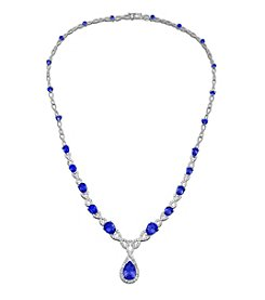 Lab-Created Blue and White Sapphire Necklace in Sterling Silver