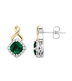 Lab-Created Emerald and White Sapphire Earrings in Sterling Silver and 14K Gold