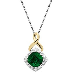 Lab-Created Emerald and White Sapphire Pendant in Sterling Silver and 14K Gold