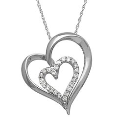 .10 ct. t.w. Diamond Heart Pendant in Sterling Silver