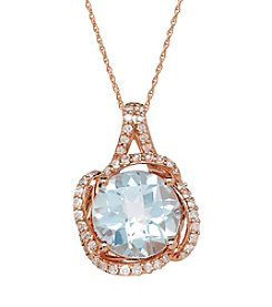 Sky Blue Topaz and .32 ct .tw. Diamond Pendant in 10K Rose Gold