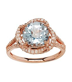 Sky Blue Topaz and 0.38 ct .tw. Diamond Ring in 10K Rose Gold