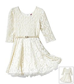 Beautees Girls' 7-16 3/4 Sleeve Lace Skater Dress