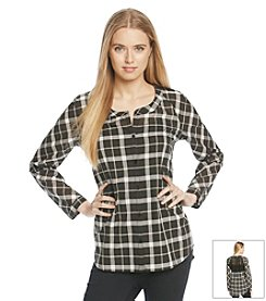 Love on Tap Lace Back Plaid Shirt