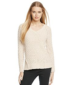 Love Always V Neck Popcorn Pullover Sweater