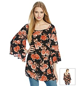 Blu Pepper™ Bell Sleeved Floral Tunic