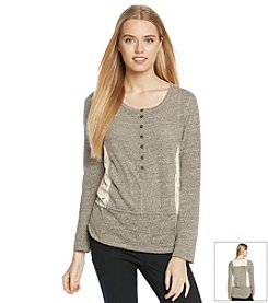 Jolt® Lace Inset Marled Henley Top