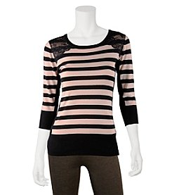 A. Byer Striped Lace Shoulder Top